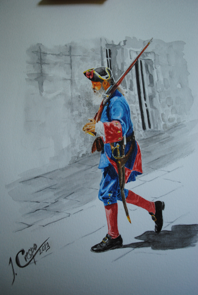 2013. Spanish soldier in Saint Augustin, Florida. Watercolor.