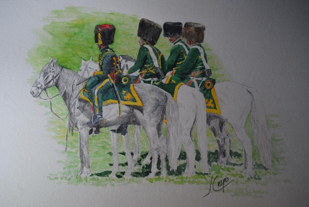 Cazadores de la Guardia Imperial de Napoleón. Tecnica mixta: Acuarela y lapiz