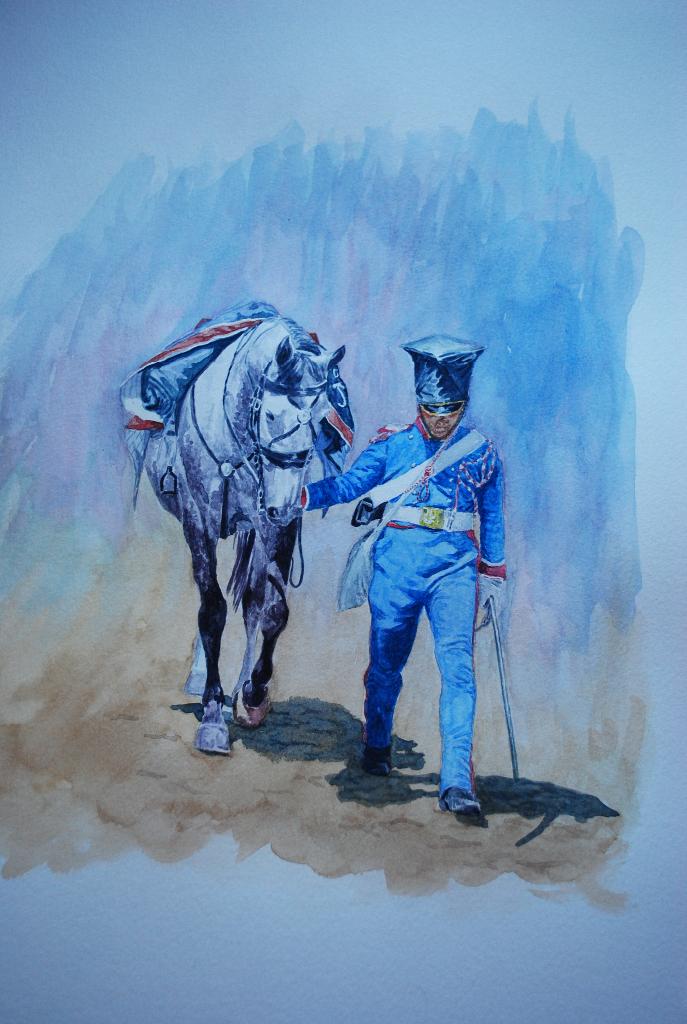 Trompeta de lanceros polacos de la Guardia Imperial de Napoleón. Acuarela